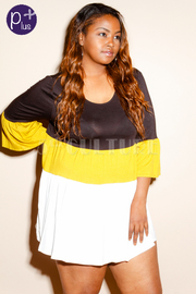 Plus Size Colorblock Striped Tunic Top
