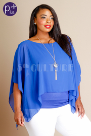 Plus Size Chiffon Blouse With Necklace