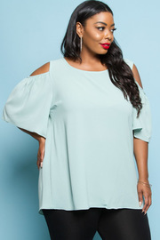 Plus Size Cold Shoulder Solid Blouse