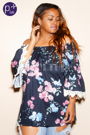 Plus Size Off Shoulder Crochet Trim Floral Blouse