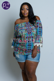 Plus Size Off Shoulder Bohemian Geo Printed Blouse