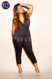 Plus Size Surplice Sleeveless Solid Jumpsuit