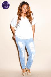 Plus Size Distressed Light Denim Jeans