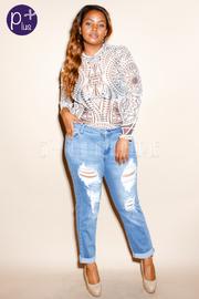 Plus Size Destroyed Skinny Denim Jeans