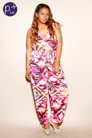 Plus Size Geo Printed Surplice Tie Jumpsuit
