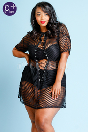 Plus Size Sexy All Net Tie Up See Through Dress