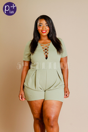 Plus Size Pretty In Tie Up Solid Romper