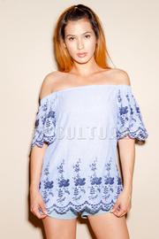 Off Shoulder Embroidery Summer Top