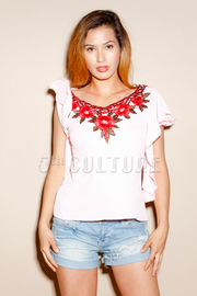 Floral Patch Sheer Short Sleeved Top