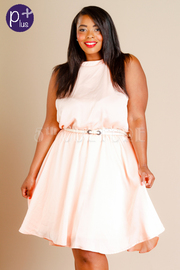 Plus Size Sweet Belted Flared Dress