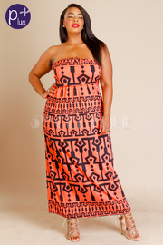 Plus Size Strapless Aztec Pattern Maxi Dress