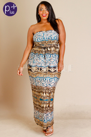 Plus Size Strapless Bohemian Maxi Summer Dress