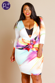 Plus Size Deep V Watermarble Tunic Dress