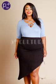 Plus Size Unique Asymmetric Tie Up Side Skirt