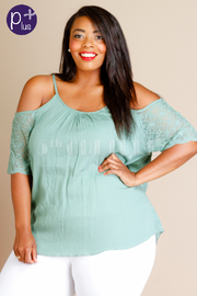 Plus Size Cold Shoulder Embroidery Solid Blouse