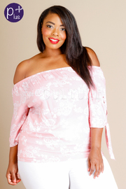 Plus Size Sweet Floral Off Shoulder Top