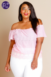 Plus Size Off Shoulder Embroidery Top