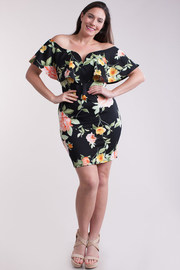 Plus Size Off Shoulder Sweetheart Sexy Mini Bodycon Dress