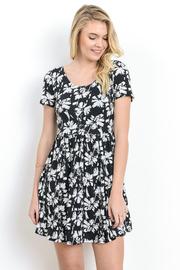 Floral Short Sleeved Flared Dress