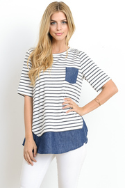 Striped & Solid Combo Pocket Shirt