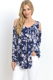 Cold Shoulder Floral Tunic Top