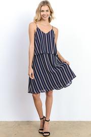 Striped V Cut Tank Flowy Dress