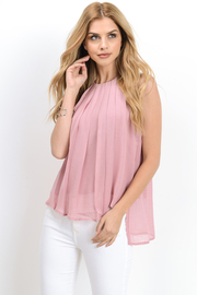 Casual Pleat Sheer Tunic Top