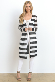 Striped Knitted Sheer Back Cardigan