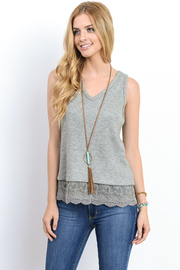 V-neck Knit Embroidery Trim Tank