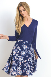 Surplice Solid Jersey & Floral Flared Dress