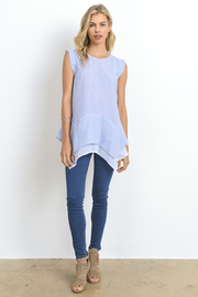 Asymmetric Sheer Combo Denim Top