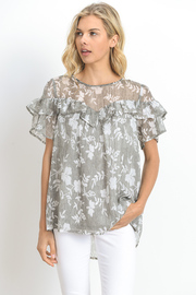 Ruffled Floral Printed Sheer Blouse