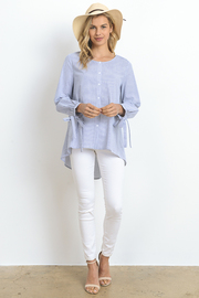 Striped Button Down Hi Lo Shirt