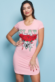 Sliced Back Slay Roses Printed Mini Dress