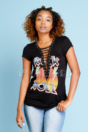 Rock N Roll Graphic Eyelet Print Top