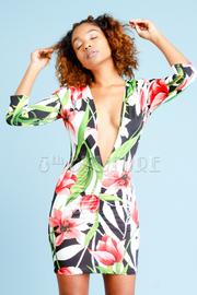 Deep V Tropical 2-Way Bodycon Dress
