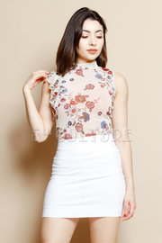 Cascade Side Floral Print Top