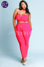 Plus Size Sweetheart Cropped Sexy 2-Piece Pants Set