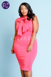 Plus Size Bow Tie Solid Midi Dress