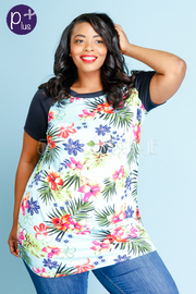 Plus Size Round Neck Tropical Floral Jersey Top