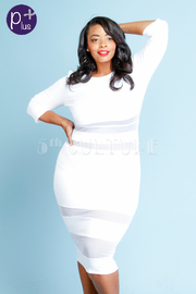Plus Size Mesh Trim Solid Tube Dress