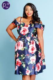 Plus Size Off Shoulder Silky Floral Skater Dress