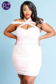 Plus Size Sexy Cutout Knot Club Mini Dress
