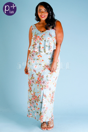 Plus Size Pretty In Floral Flounce Maxi Dress