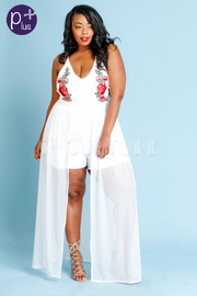 Plus Size Classy Roses Patch Romper With Maxi Mesh Tail