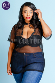 Plus Size See Through Sexy Net Hoodie Eyelet Top