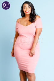 Plus Size Off Shoulder V Cut Midi Bodycon Dress