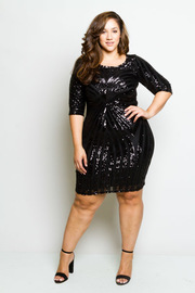 Plus Size Sequin Design Glam Midi Dress