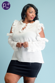 Plus Size Cute Ruffled Sheer Open Shoulder Blouse