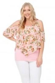Plus Size Floral V Trim Sheer Cold Shoulder Blouse